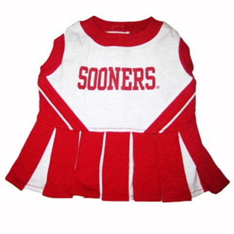 Oklahoma Sooners Dog Cheerleading Uniform Dress-DOG-Pets First-Pets Go Here