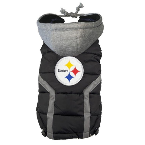 Pittsburgh Steelers Dog Puffer Vest Coat w/ Hood-DOG-Hip Doggie-X-LARGE-Pets Go Here fleece, hip doggie, nfl, reflective, s, sports, sports coat Pets Go Here, petsgohere