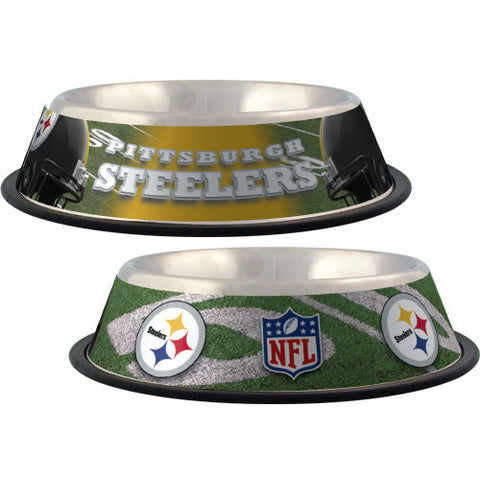 Pittsburgh Steelers Dog Bowl-DOG-Hunter-Pets Go Here black, dc, hunter, nfl, sports, sports bowl, stainless steel Pets Go Here, petsgohere