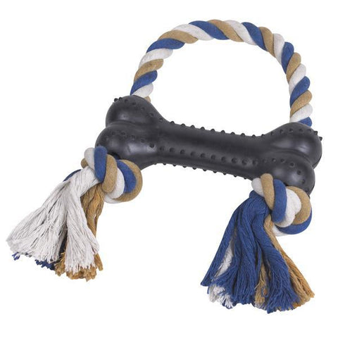 Grriggles Rubber & Rope Bone Tugs - Toy for Dogs - BLACK-DOG-Grriggles-Pets Go Here