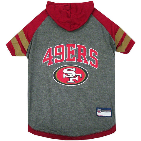 San Francisco 49ers Dog Hoodie Shirt-DOG-Pets First-LARGE-Pets Go Here l, m, nfl, pets first, s, sports, sports shirt, test, xl, xs Pets Go Here, petsgohere