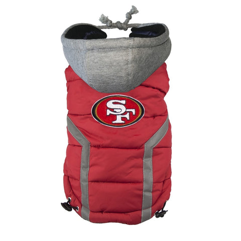 San Francisco 49ers Dog Puffer Vest Coat w/ Hood-DOG-Hip Doggie-X-LARGE-Pets Go Here