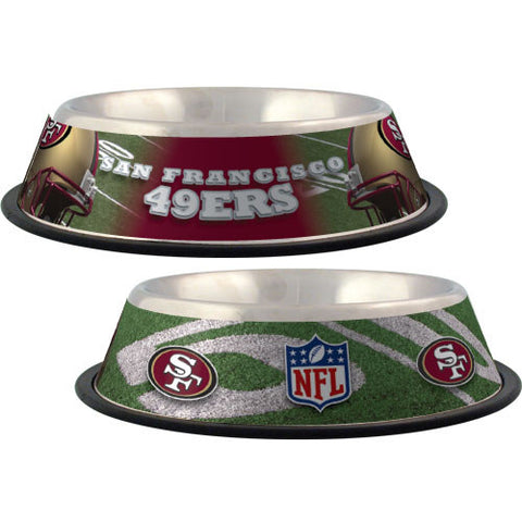 San Francisco 49ers Dog Bowl-DOG-Hunter-Pets Go Here black, dc, hunter, nfl, sports, sports bowl, stainless steel Pets Go Here, petsgohere