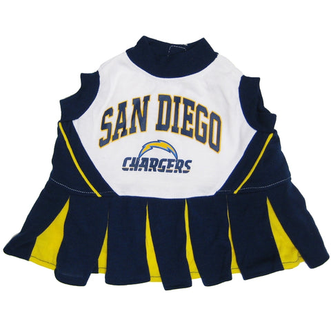 San Diego Chargers Dog Cheerleading Uniform Dress-DOG-Pets First-Pets Go Here cheerleader, costume, dc, dog, dog dress, m, nfl, pets first, sports, uniform Pets Go Here, petsgohere