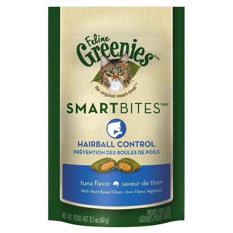 Feline Greenies SmartBites Hairball Control-CAT-Greenies-TUNA-Pets Go Here 2.1 oz, cat, cat treat, chewy, crunchy, dental treat, greenies, hairball, pet meds, pet supplements, treat, tuna Pets Go Here, petsgohere