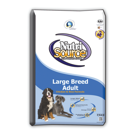 NutriSource LARGE Breed Adult CHICKEN & Rice Formula Dog Food 33 LB-DOG-NutriSource-Pets Go Here adult, chicken, food, organic, pet meds, pet supplements, white Pets Go Here, petsgohere
