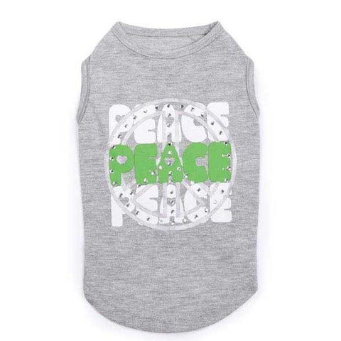 Zack and Zoey Studded USA Peace Dog Tank GRAY-DOG-Zack & Zoey-LARGE-Pets Go Here