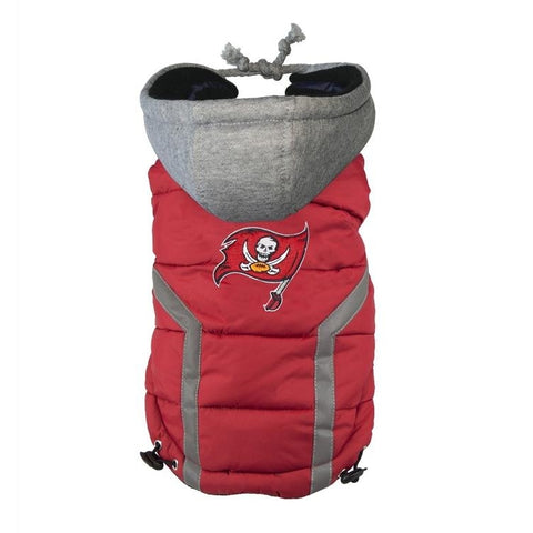 Tampa Bay Buccaneers Dog Puffer Vest Coat w/ Hood-DOG-Hip Doggie-X-LARGE-Pets Go Here