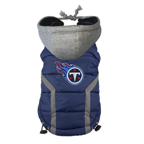 Tennessee Titans Dog Puffer Vest Coat w/ Hood-DOG-Hip Doggie-X-LARGE-Pets Go Here