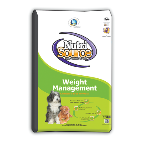 NutriSource Weight Management CHICKEN & Rice Dog Food 18 LB-DOG-NutriSource-18 Lb-Pets Go Here