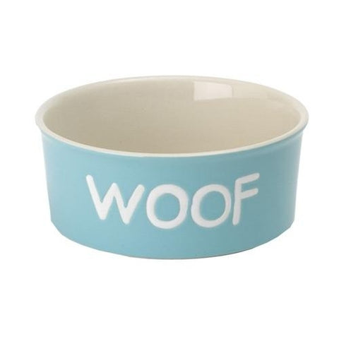 "Kool Dog WOOF 6.25"" SKY BLUE 3-Cup-DOG-Pet Goods-Pets Go Here blue, bowl, ceramic, dog bowl, pet goods, sky blue Pets Go Here, petsgohere"
