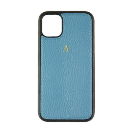 iPhone 11 Phone Case in Denim Pebbled Leather