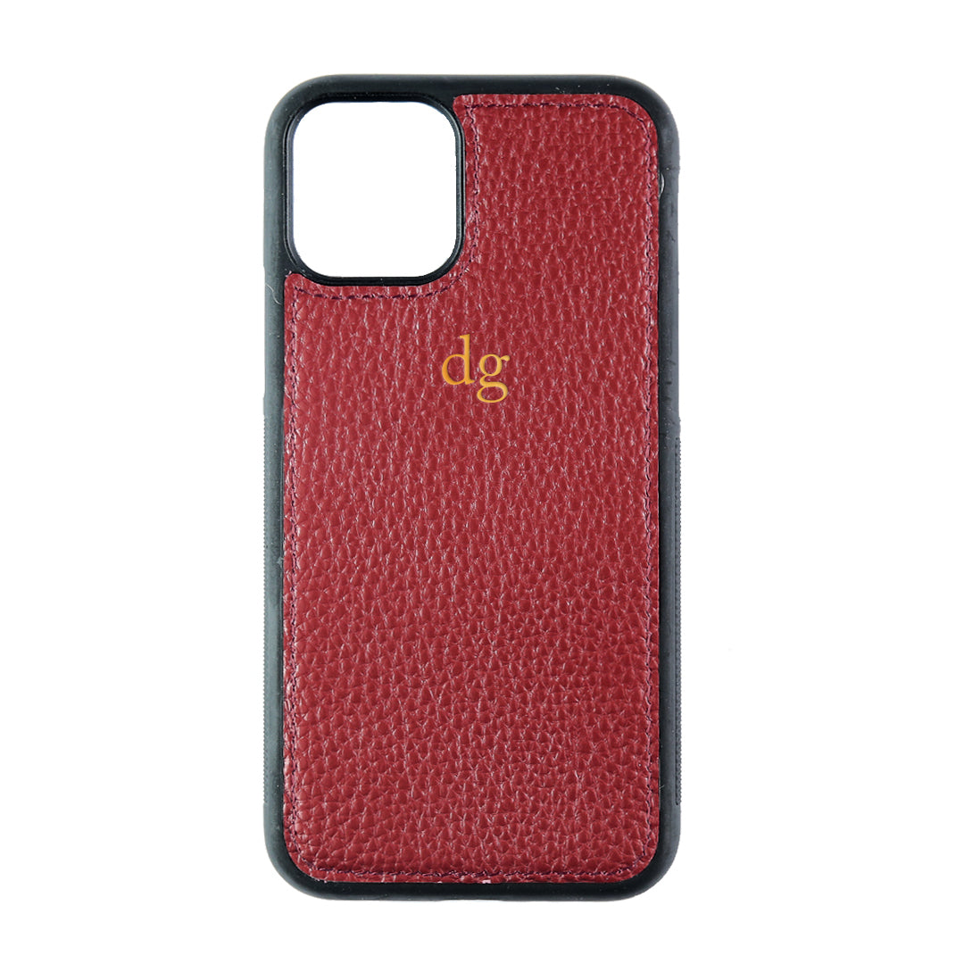 iPhone 11 Pro Phone Case in Burgundy Pebbled Leather