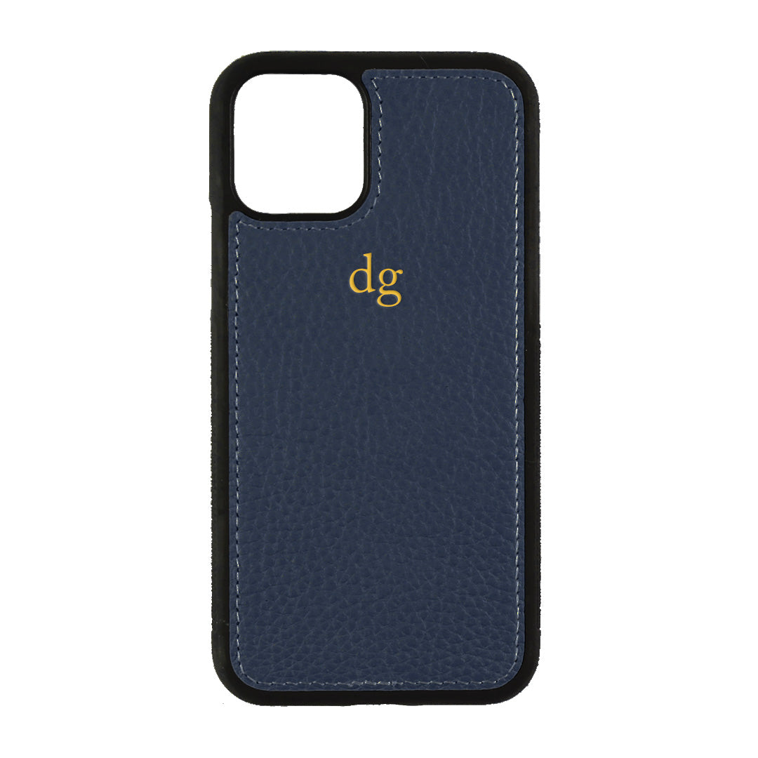 iPhone 11 Pro Phone Case in Navy Pebbled Leather