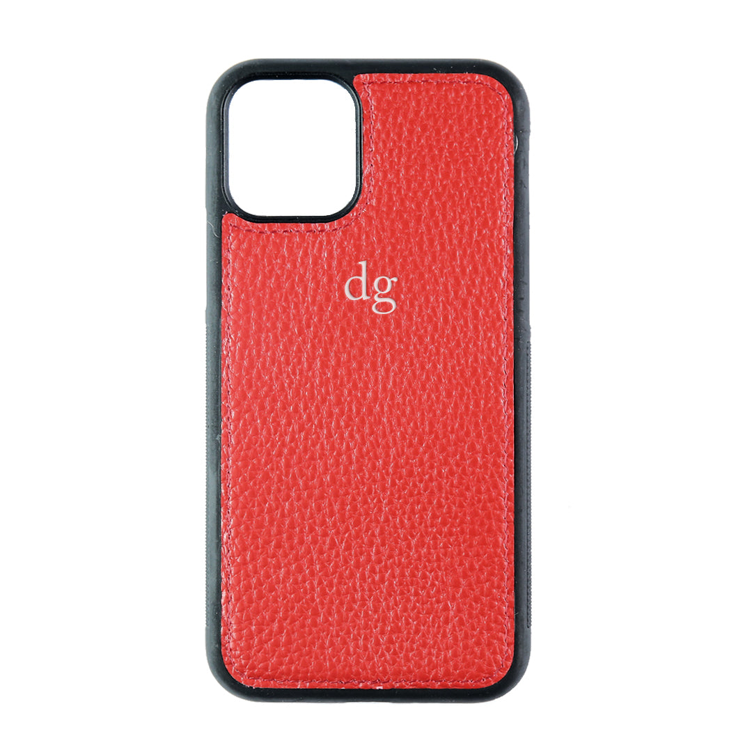 iPhone 11 Pro Phone Case in Red Pebbled Leather