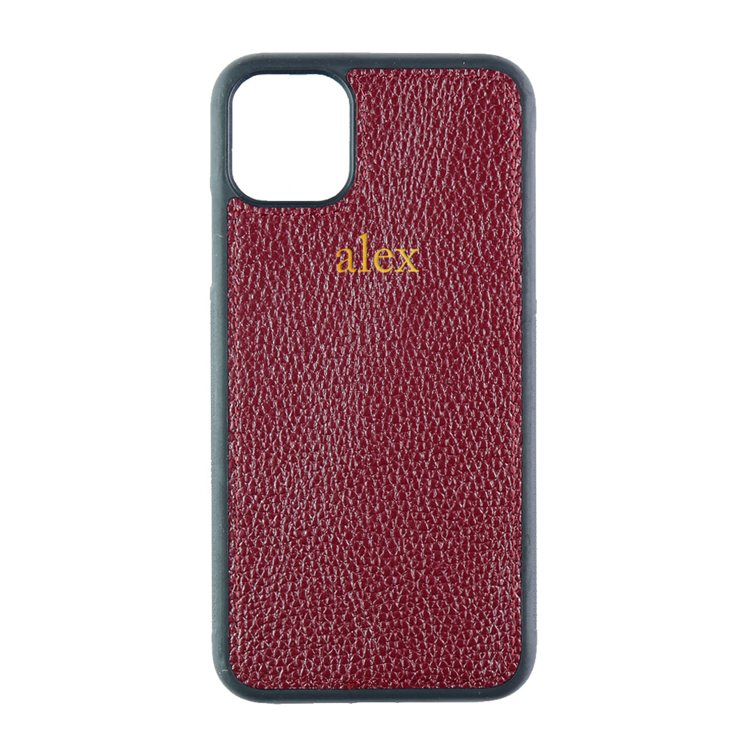 iPhone 11 Pro Max Phone Case in Burgundy Pebbled Leather