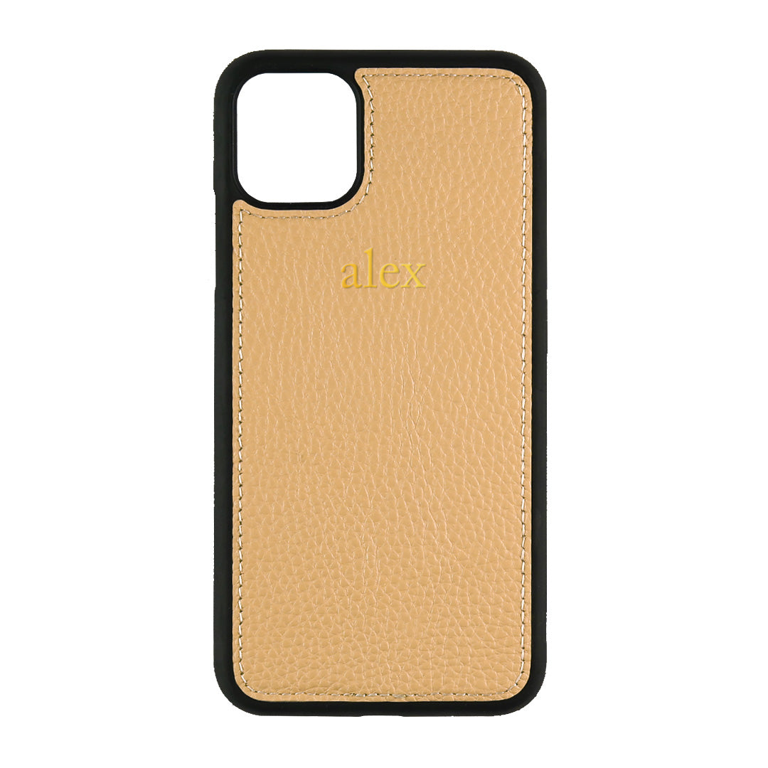 iPhone 11 Pro Max Phone Case in Cocoa Pebbled Leather