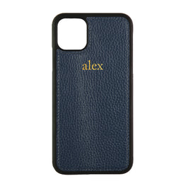iPhone 11 Pro Max Phone Case in Navy Pebbled Leather