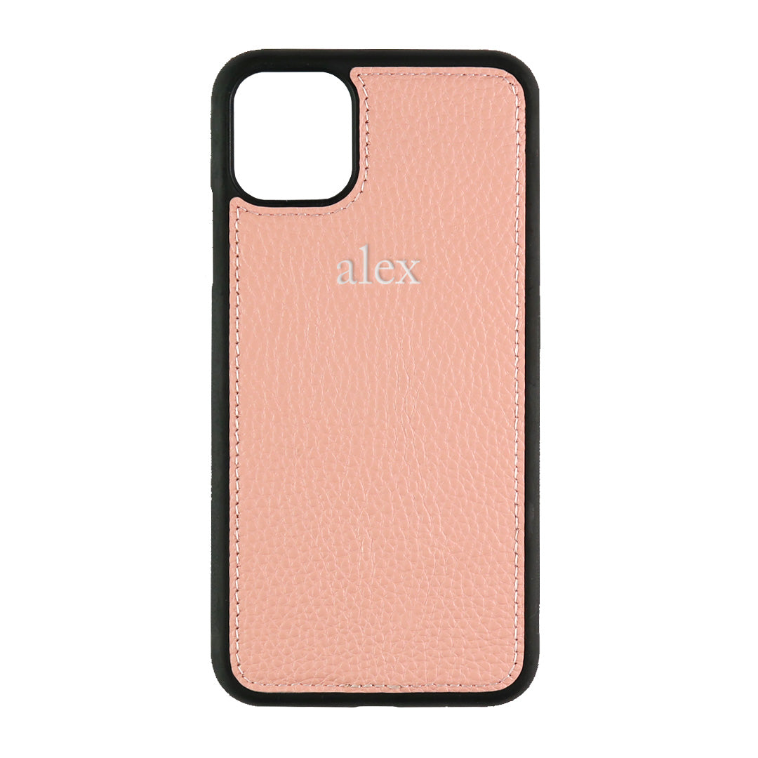 iPhone 11 Pro Max Phone Case in Pale Pink Pebbled Leather