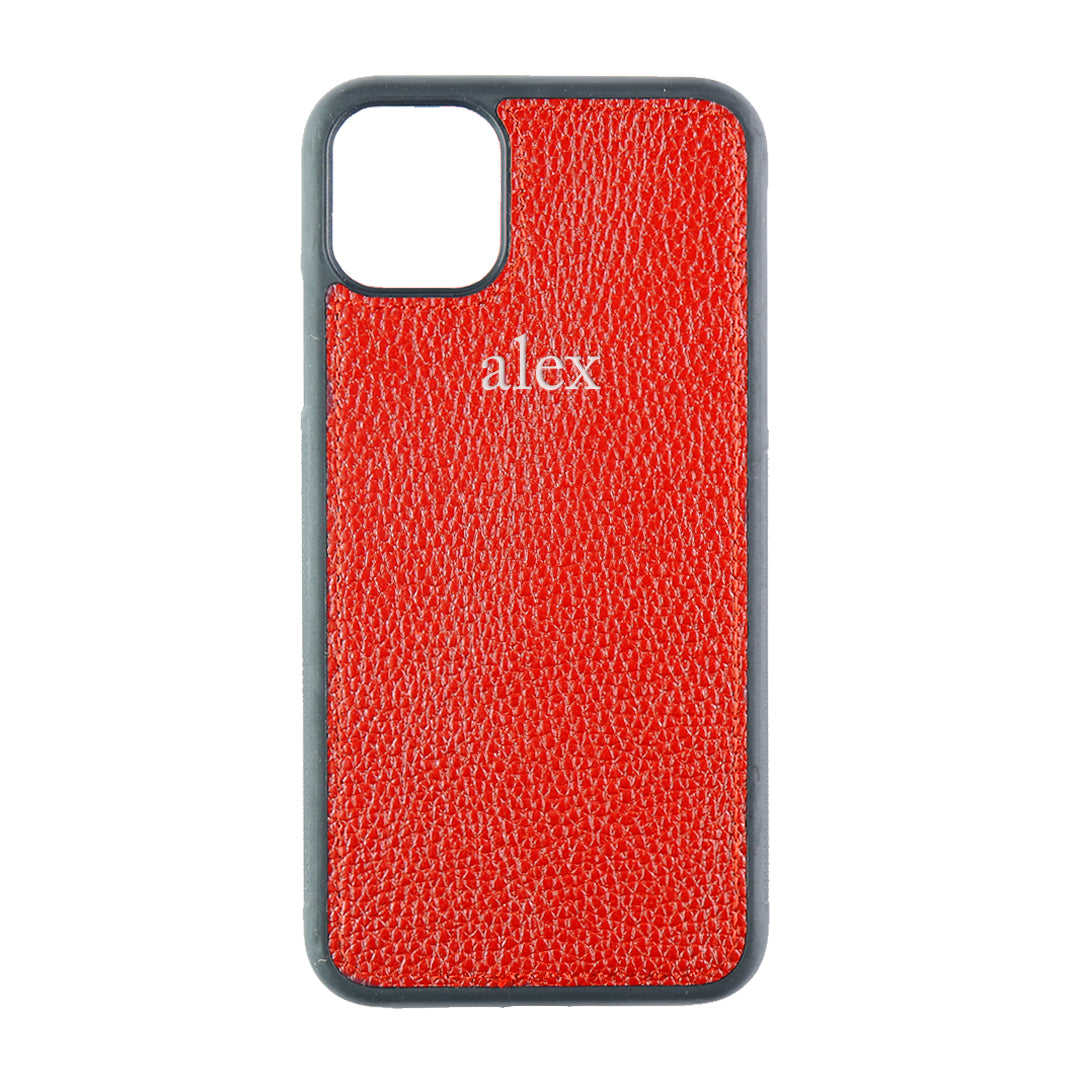 iPhone 11 Pro Max Phone Case in Red Pebbled Leather