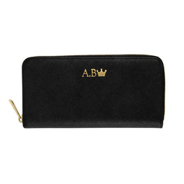 Long Wallet in Black Saffiano Leather (Gold)