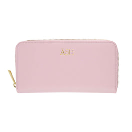 Long Wallet in Pebbled Lilac Leather