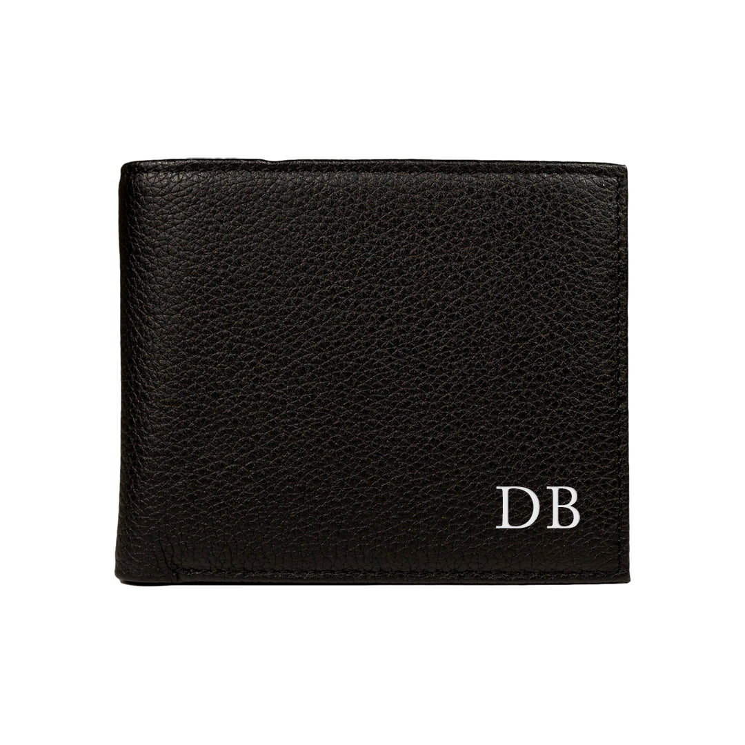 Mon Purse Mens Pebbled Convertible Wallet in Black