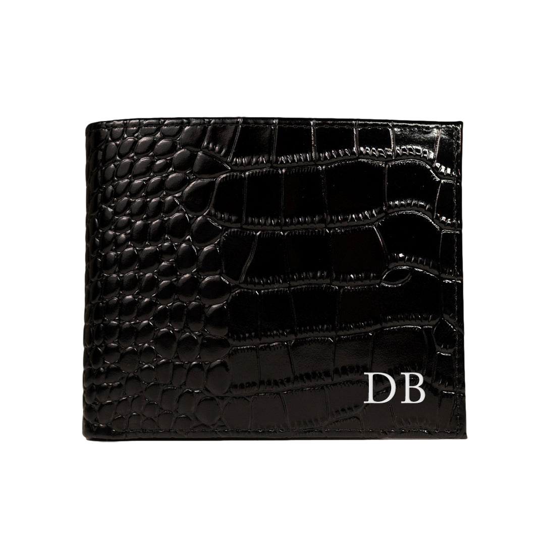 Mon Purse Mens Croc Convertible Wallet in Black