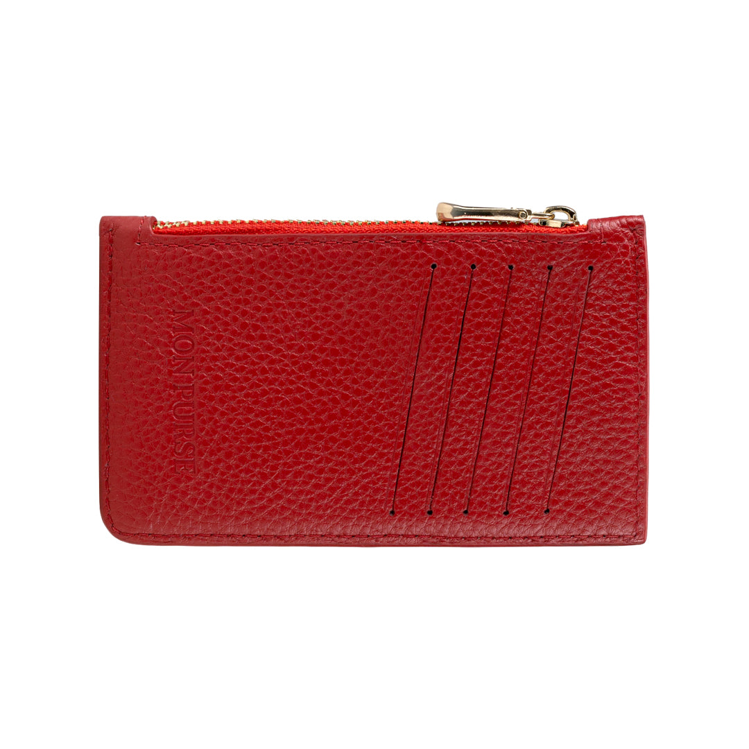 Mon Purse Pebbled Maxi Card Holder in Red (Gold)