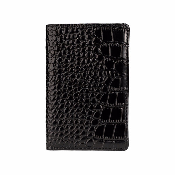 Mon Purse Mens Croc Small Bifold Wallet in Black