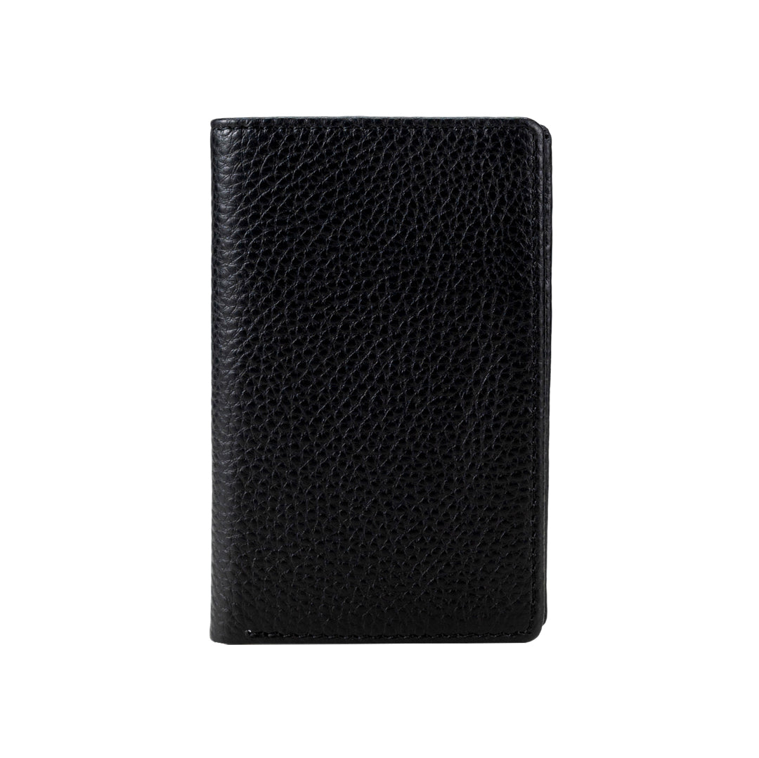 Mon Purse Men's Pebbled Small Bifold Wallet in Black