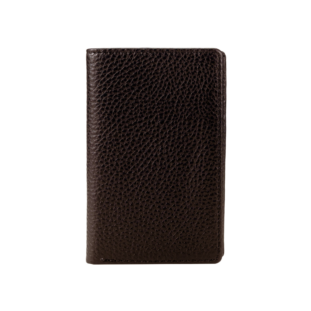 Mon Purse Men's Pebbled Small Bifold Wallet in Dark Brown