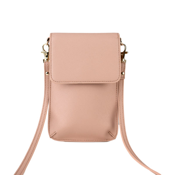 Phone Bag in Taupe Saffiano Leather