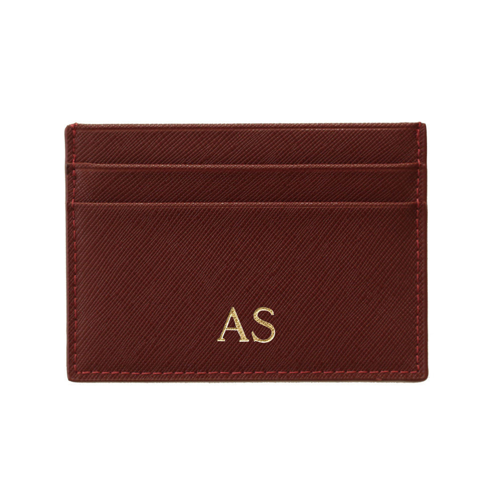 Cardholder in Burgundy/Red Saffiano Leather - OLIVIA&CO.