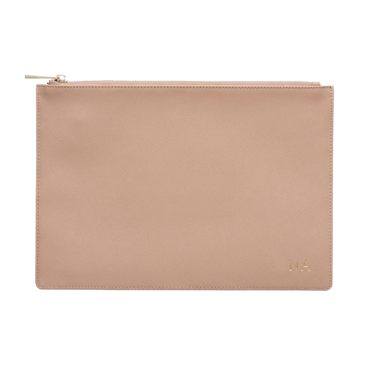 Pouch in Taupe Saffiano Leather - OLIVIA&CO.