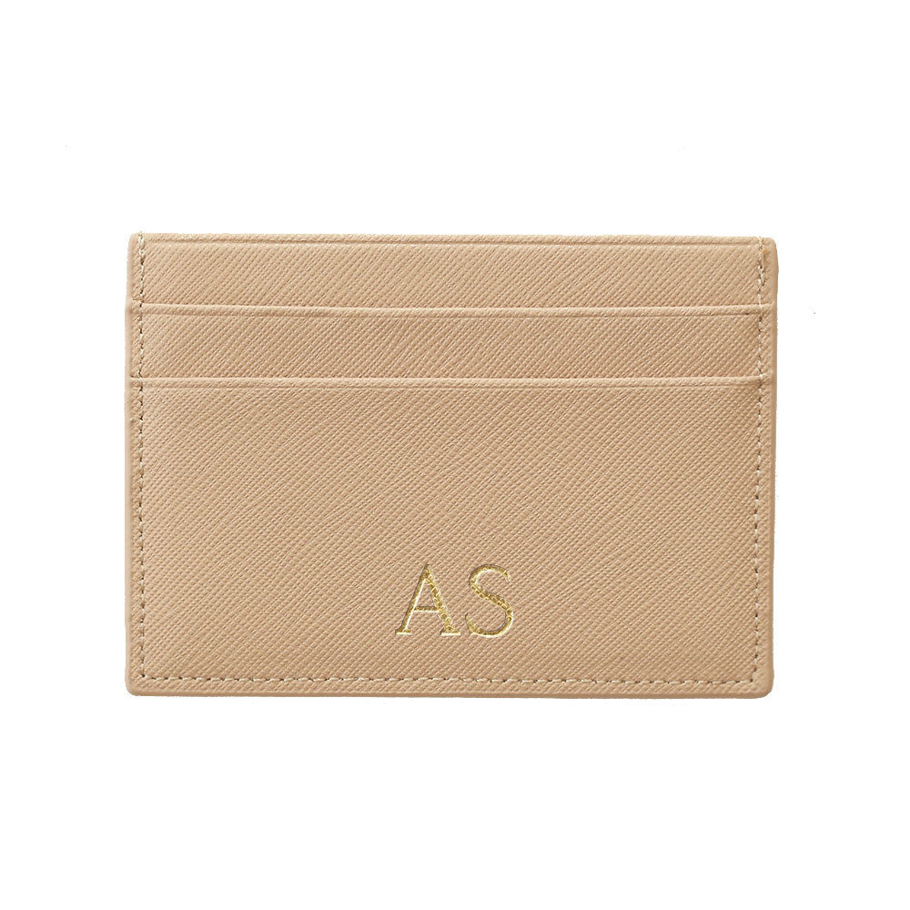 Cardholder in Taupe Saffiano Leather - OLIVIA&CO.