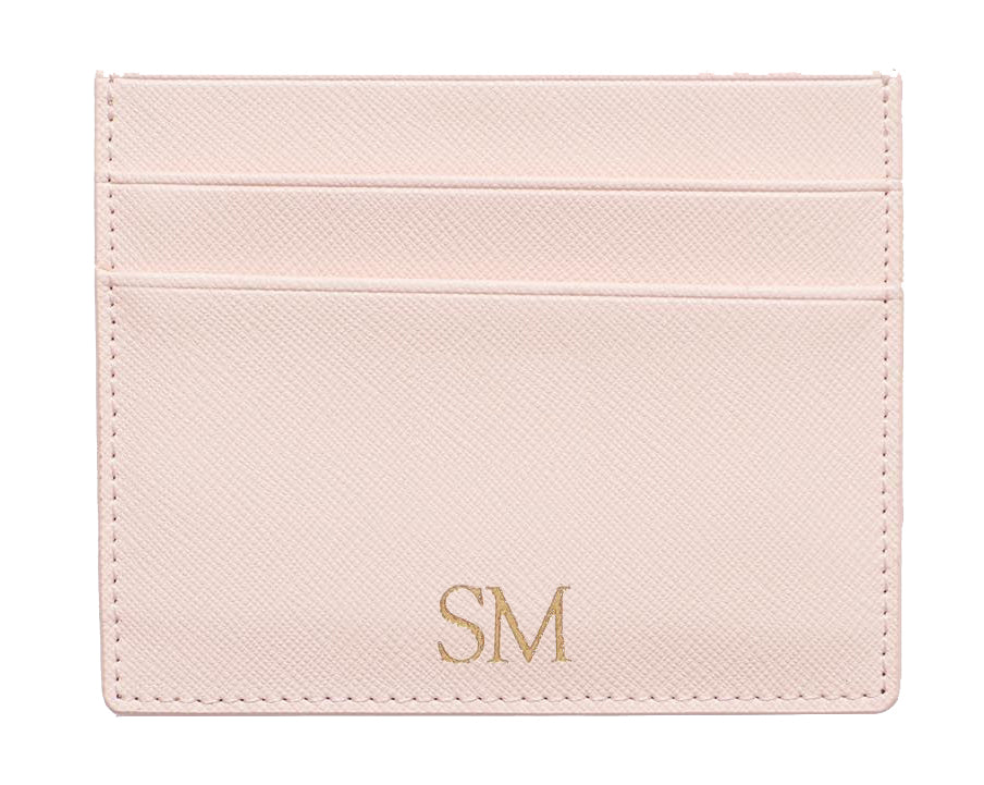 Cardholder in Blush Pink Saffiano Leather - OLIVIA&CO.