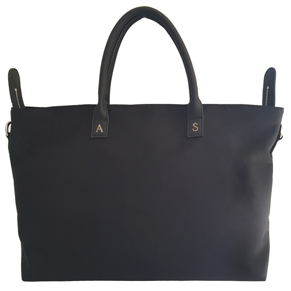 Canvas Bag in Large Black with Leather Handles