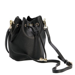 Bucket Bag Mini in Black Saffiano Leather