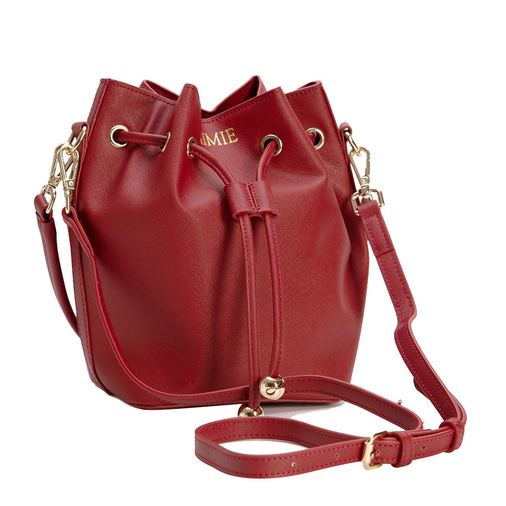 Bucket Bag Mini in Red Vegan Leather