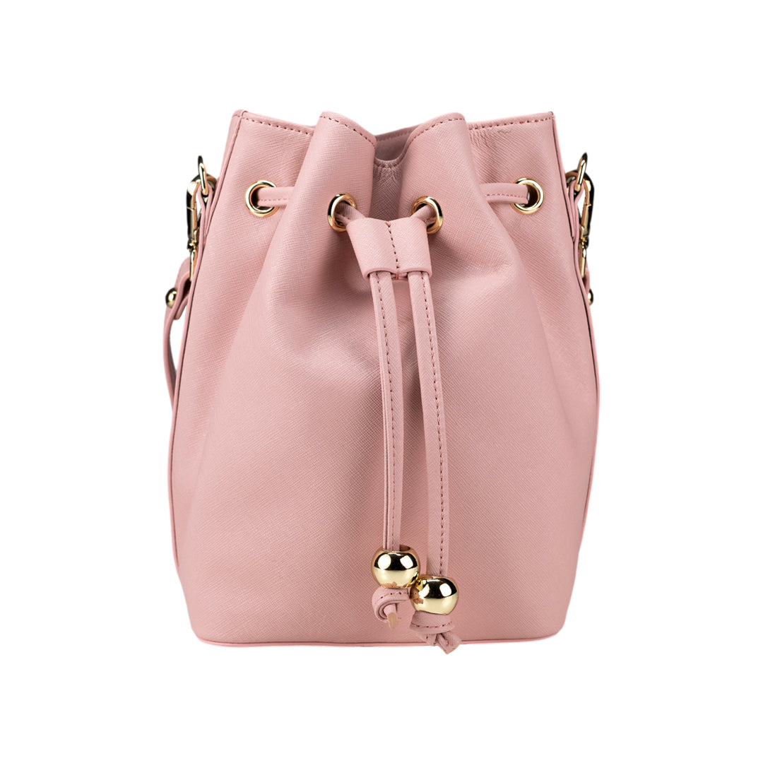 Bucket Bag Mini in Pink Saffiano Leather
