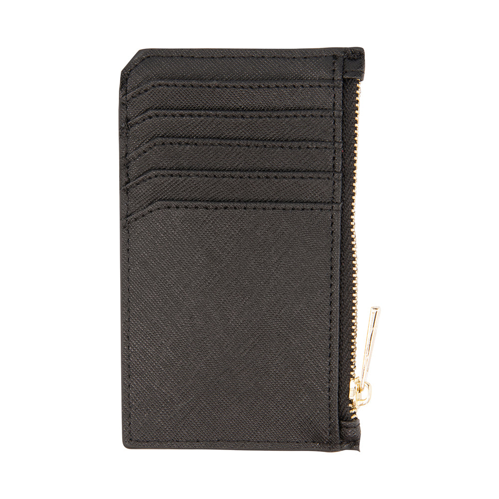 Card Holder with Zip in Black Saffiano Leather