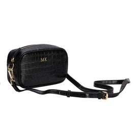 Black Mock Croc Side Bag