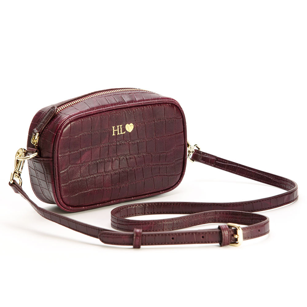 Burgundy Mock Croc Side Bag