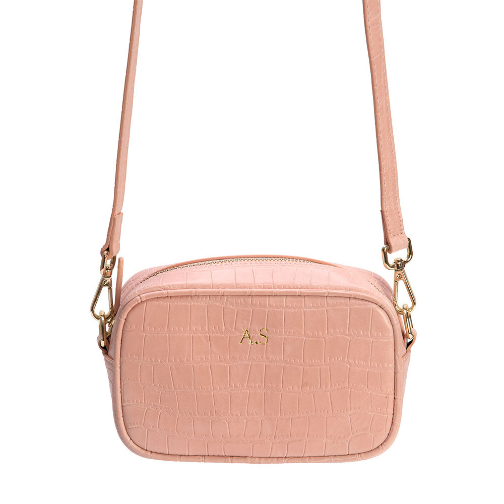 Pink Mock Croc Side Bag