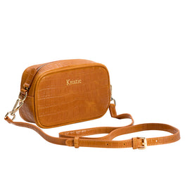 Tan Mock Croc Side Bag