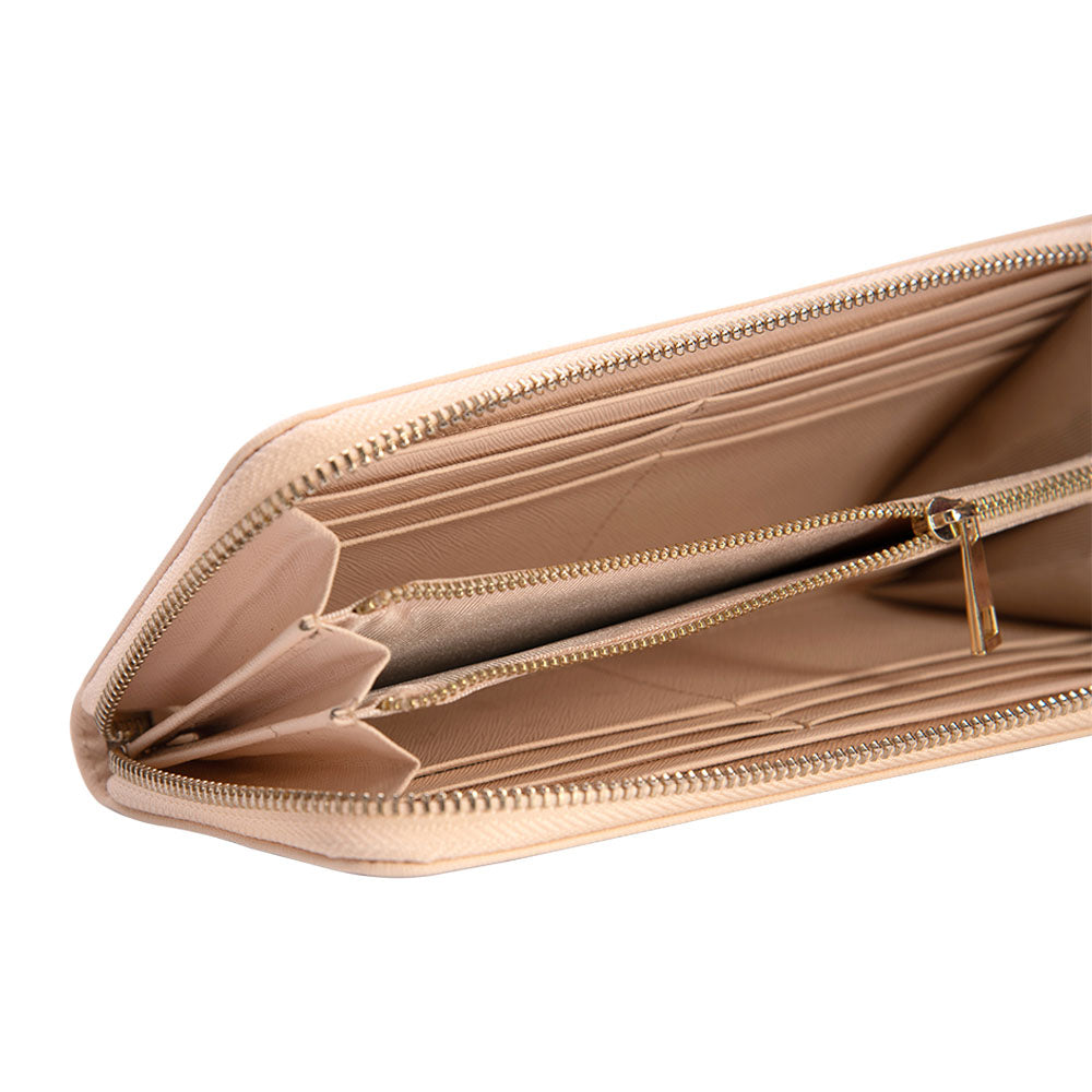 Long Wallet in Pale Pink Saffiano Leather