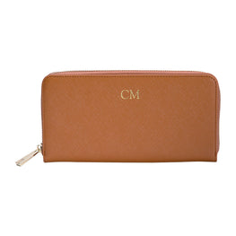 Long Wallet in Tan Saffiano Leather