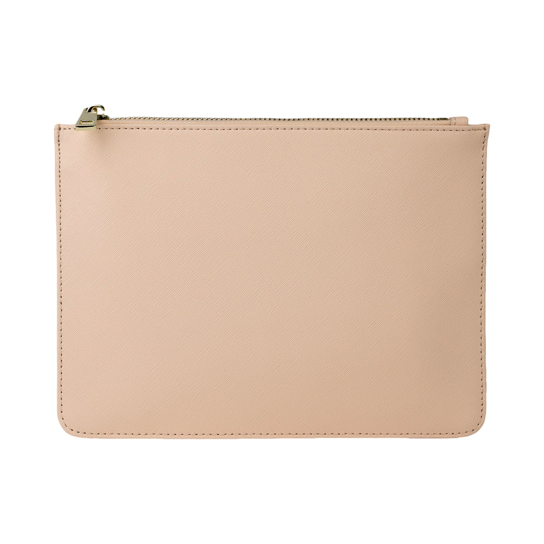 Pouch in Nude Saffiano Leather