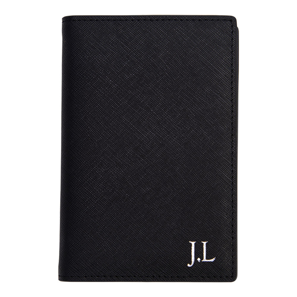 Outta Here Passport Holder in Black Saffiano Leather